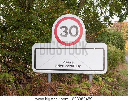 Village Rectangle Sign With 30 Miles Per Hour Speed Limit