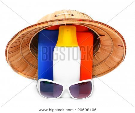 UV protection equipment for happy holidays. Sunglasses, hat and sun lotion. poster