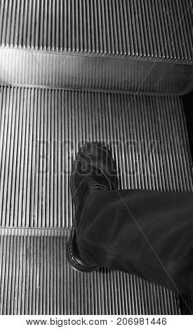 Elegant Black Shoe For Man On The Sliding Scale Of The Departmen