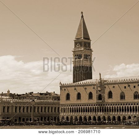 Venice Italy Campanile Of Saint Mark And Ducal Palace With Sepia