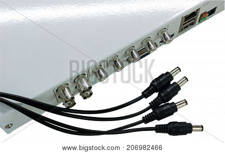 network cables connected in network switches on White background