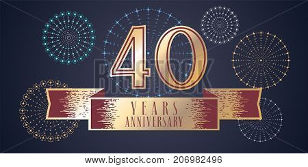 40 years anniversary vector icon logo. Graphic design element illustration with ribbon and golden color number for 40th anniversary celebration