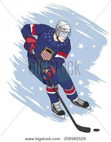ice hockey player vector illustration on grungy background
