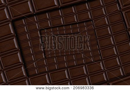 Abstract dark chocolate square spiral made of chocolate bar. Twirl abstract. Chocolate background pattern. Dark chocolate dessert spiral round pattern background. Abstract dessert food fractal
