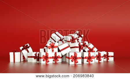 White christmas gifts or presents with red ribbon (3D Rendering)