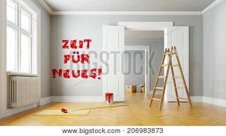 German slogan Zeit fuer Neues (time for something new) on wall as new beginning or change (3D Rendering)