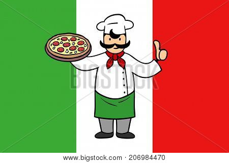 Pizzeria sign with man holding pizza behind flag of Italy