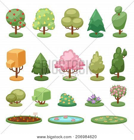 Different game green tree bush and ground isolated nature environment leaf plants vector illustration. Garden spring foliage botany season element.