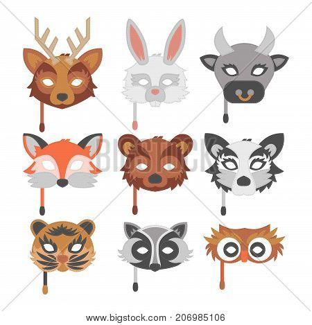 Set of cartoon animals party masks vector holiday illustration party fun symbols. Celebration character head masquerade festival decoration.