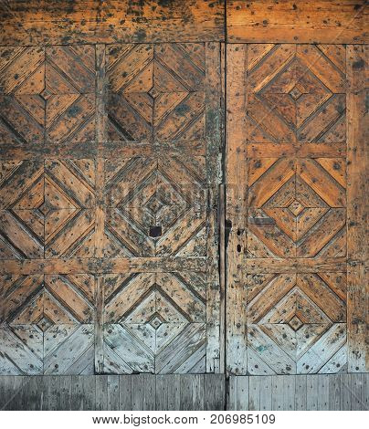 background in the form of an old wooden brown door