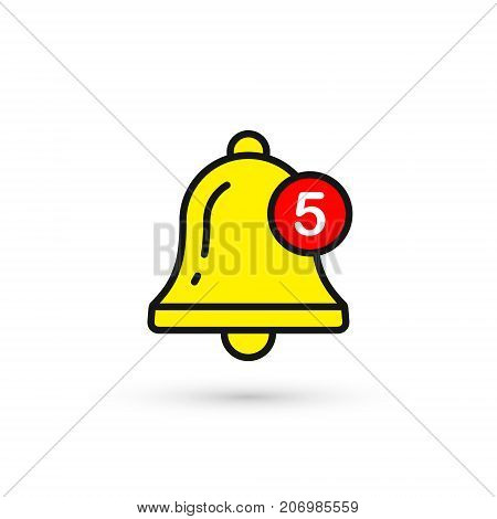 Bell New Notification Icon. Vector isolated symbol.