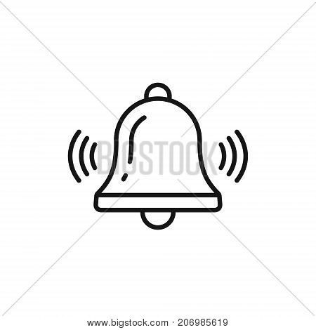 Bell outline icon vector Alarm handbell line isolated sign.