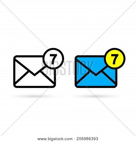 Mail Icon With Notification. Vector isolated flat style symbol.