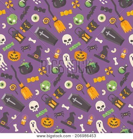 Halloween Flat Icons Pattern. Halloween Items On Purple Background. Trick Or Treat