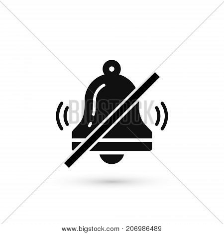 No bell icon. Prohibition vector sign. Stop alarm signal symbol in flat style.