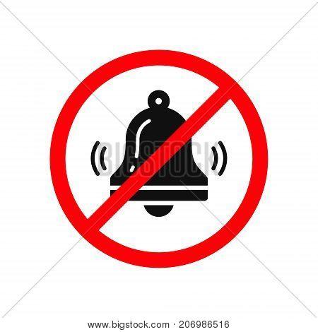 No bell icon. Prohibition vector sign. Stop alarm signal symbol.