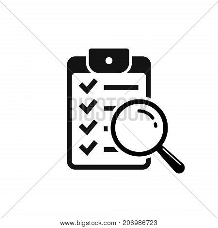 Magnifier assessment checklist icon. Vector flat style symbol.