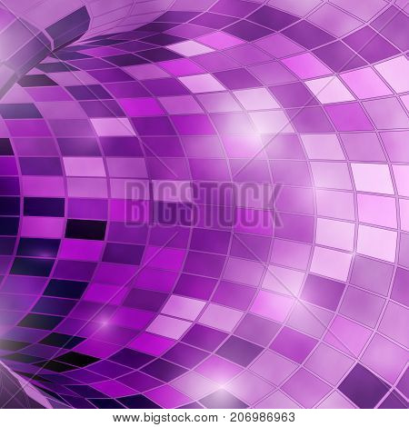 Bright shiny violet glass polygonal mosaic tunnel for festive holiday disco background. Vector illustration
