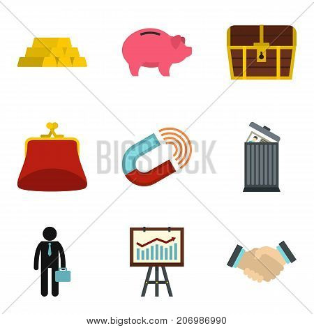 Checking cash icons set. Cartoon set of 9 checking cash vector icons for web isolated on white background