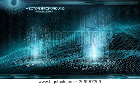 Big data visualization. Cyberspace landscape.  Binary code. Virtual objects.Retro style.  Futuristic background. Hud element