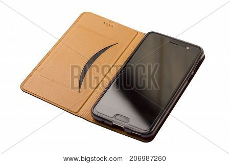 Brown leather case for smartphones flip-cover. Cover with phone. On a white background. Isolate
