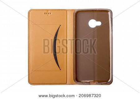 Brown leather case for smartphones flip-cover. On a white background. Isolate