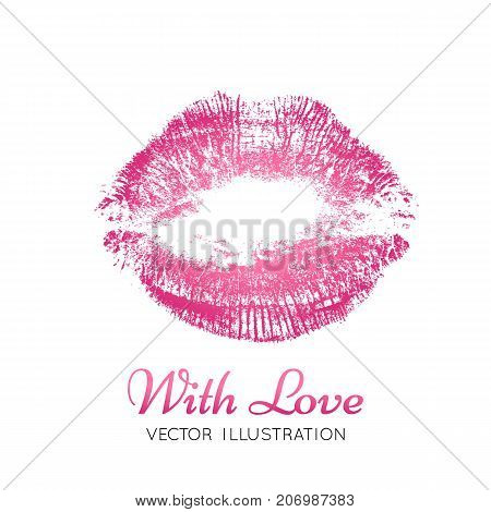A bright pink imprint of the lips. Vector image of a kiss. Valentine's Day element