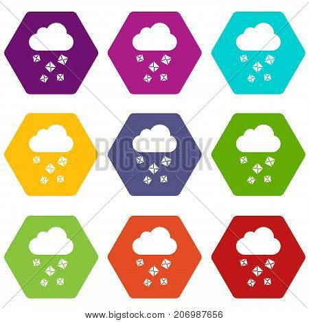 Cloud and hail icon set many color hexahedron isolated on white vector illustration