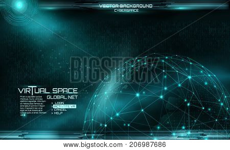 Network and data exchange over planet earth in space virtual space. Pexus sphere. Matrix background. Global Digital Connections. Virtual space. binary code background. Retro style.