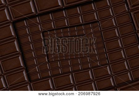 Abstract dark chocolate square spiral chocolate bar. Dark chocolate bar tablet background. Square staircase chocolate food spiral. Stair effect food background. Square background. Food fractal