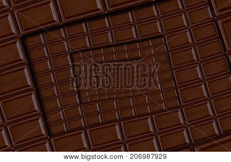 Abstract milk chocolate square spiral made of chocolate bar. Twirl abstract. Chocolate background pattern. Dark chocolate dessert spiral round pattern background. Abstract dessert food fractal