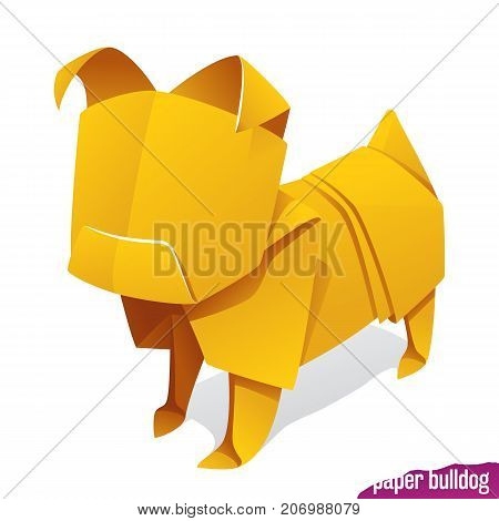 Vector origami paper dog. Yellow bulldog or pug icon isolated on white background. Concept of natural pet food or 2018 Chinese New Year symbol
