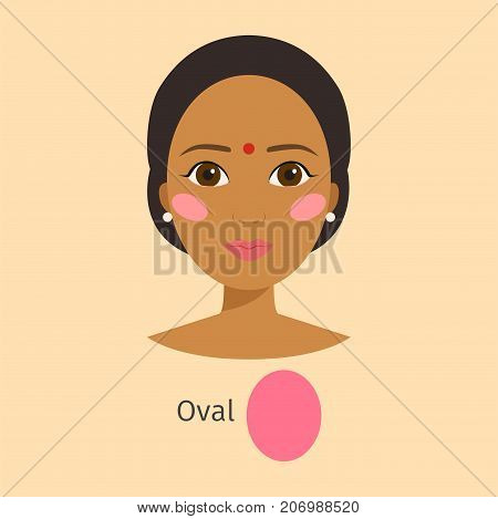 Woman face type oval shape female. Head vector character illustration. Cosmetology avatar shape oval makeup. Perfect fresh skin pure beauty attractive model.