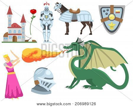 Heraldic royal crest medieval knight elements vintage king symbol heraldry castle badge vector illustration. Historical insignia attributes luxury ornament graphic.