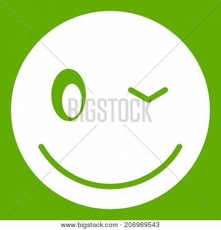 Eyewink emoticon white isolated on green background. Vector illustration