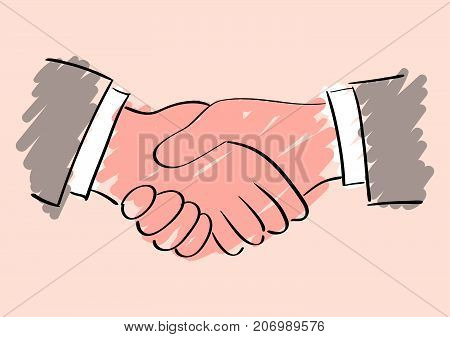 Vector sketch drawing of handshake. Symbol of friendship partnership and cooperation. Sketch handshake. Business handshake. The cooperation of people, companies