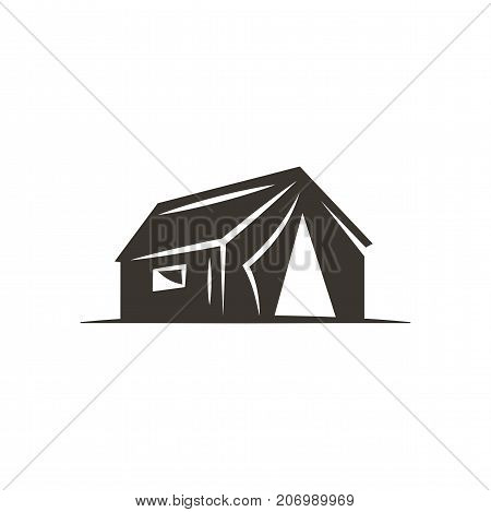 tent icon isolated on white background. Solid adventure symbol. Monochrome design. Use for logo creation. Stock vector illustration.