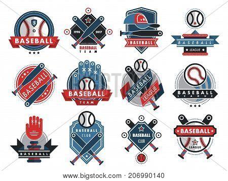 Baseball logo badge sport team or club vector template illustration. Collection of logo athletic branding insignia