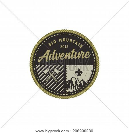 Traveling, outdoor badge. Big mountain adventure camp emblem. Vintage hand drawn design. Retro colors palette. Stock vector illustration, insignia, rustic patch. Isolated on white background.