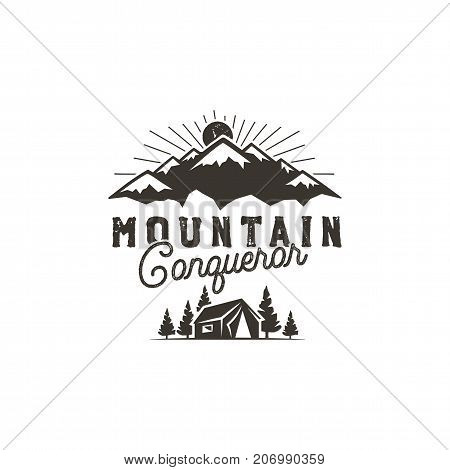 Traveling, outdoor badge. Scout camp emblem. Vintage hand drawn monochrome design. Mountain conqueror quote. Stock vector illustration, insignia, rustic patch. Isolated on white background.