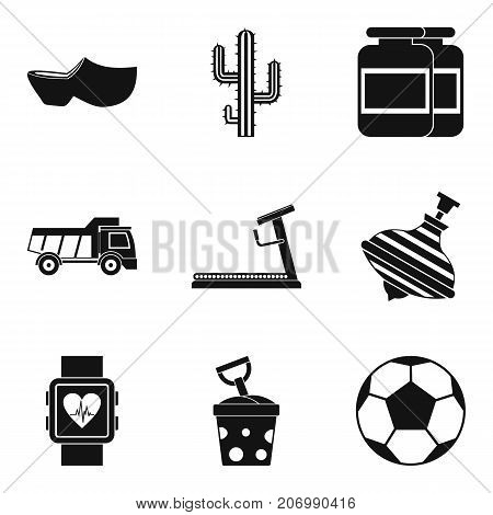 Training of children icons set. Simple set of 9 training of children vector icons for web isolated on white background