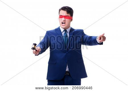 Lawyer with blindfold holding a gavel isolated on white