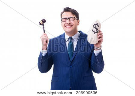 Lawyer with a gavel and a moneybag money bad isolated on white