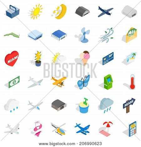 Rest icons set. Isometric style of 36 rest vector icons for web isolated on white background