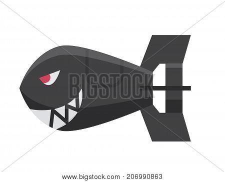 Bomb dynamite fuse vector illustration. Grenade attack power ball burning detonation. Explosion fire military destruction design aggression shark object.