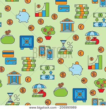 Banking money finance banking services accumulation bank investment vector seamless pattern background.