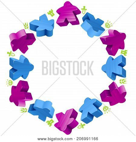 Hex frame of meeples for board games. Blue and purple game pieces and resources counter icons isolated on white background. Vector border for design boardgames advertisement