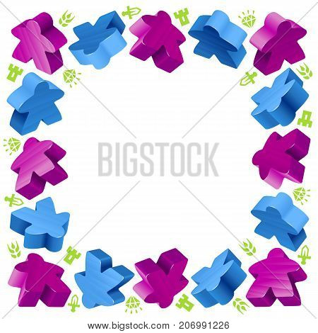 Square frame of meeples for board games. Blue and purple game pieces and resources counter icons isolated on white background. Vector border for design boardgames advertisement