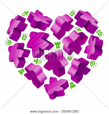 Vector game pieces in the shape of heart. Purple wooden meeples and resources counter icons isolated on white background. Concept of love by board games