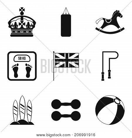 English sport icons set. Simple set of 9 english sport vector icons for web isolated on white background